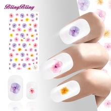2PCS Adhesive 3D Nail Sticker Decals Purple Pink Yellow Flower Ultrathin Design Nail Art Manicure Decoration Easy Use