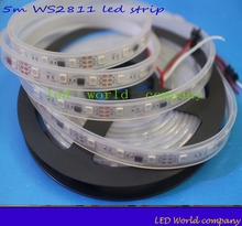 WS2811 led strip 5m 30 leds/m,5m 60leds/m casing waterproof, ws2811 ic,DC12V white PCB, 2811 led strip Addressable Digital(China)