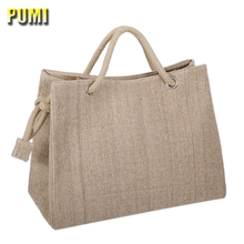 High Quality Women Linen Woven Luxury Tote Large Capacity Female Casual Shoulder Bag Lady Daily Handbag Fresh Beach Shopping Bag(China)