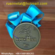 plating green bronze medals, custom medals the Family Health Running, with navy blue ribbon medals