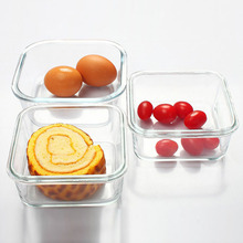 Novel Locking Design Microwave Heating Lunch Square Heat Resistant Glass Crisper Transparent Glass Fresh Box(China)