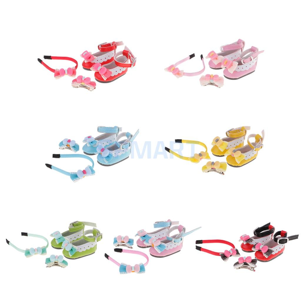 1//6 BJD Doll PU Leather Round Toe Bowknot Ankle Strap Shoes+Hairband+Hairpin