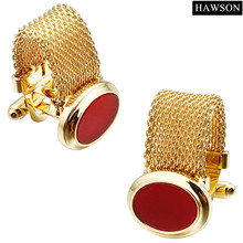 HAWSON Luxury Red Onyx Cufflinks with Chain Gold Color White Shell French Cuff links for Party(China)