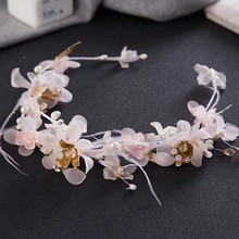 Romantic Wedding Tiaras Veil Feather Bridal Hair Accessories Elegant Fascinator Western Style Party Hairbands Women Headwear SL(China)