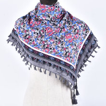 Woman Soft Small Flowers Tassels Square Scarf Winter Cotton Charm Scarves Girl Warm National Style Floral Shawl Wrap