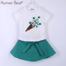Humor Bear Summer Fashion Lovely Ice Cream Baby Girls Clothes Kids Clothes Party Dresses Girl Dress Clothing Set Girls Suit(China)