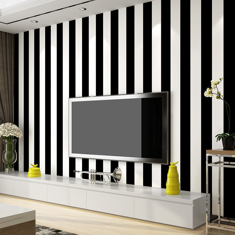 beibehang Papel de parede Modern simple black and white stripes wallpaper  yellow gray striped wallpaper Papel de parede <br>