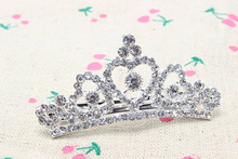 1pc Fashion Elegant Wedding Bridal tiara Crystal Hairpin Crystal Barrette Crown Hair Jewelry Brides Silver Accessories D65-1(China)