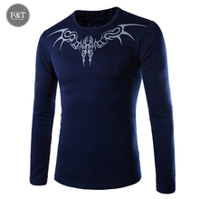 [Asian Size] New Long Sleeve O-neck T shirt Men Novelty Dragon Printing Tattoo Mens t Shirt Slim Fit Brand Sportwear T-shirt