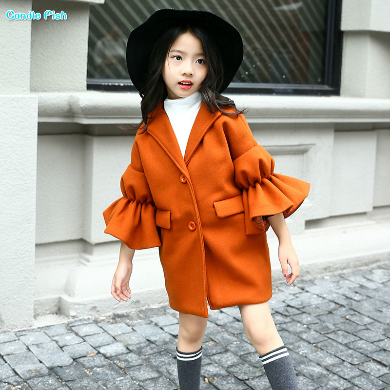 2017 new winter girl girls children Korean version of the long section of the lapel coat trumpet coat<br>