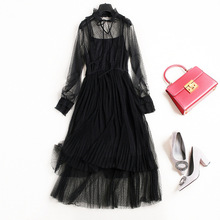 Buy New arrival 2018 spring summer fashion women girls sexy black mesh gothic style dress bow collar long sleeve pleated dresses for $49.95 in AliExpress store