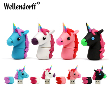 Silicone Unicorn USB Flash Drive 32GB 64GB Pendrive 16GB 8GB Waterproof Pen Drive USB 2.0 USB Stick Memory Stick USB Flash(China)