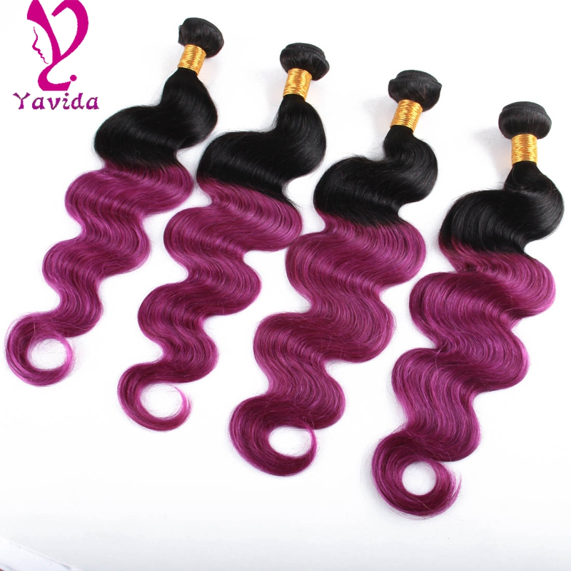 7A Ombre 1B/Purple Color Brazilian Virgin Hair purple ombre weave 3pcs/lot Two Tone Brazilian Body Wave Weave Hair Ombre Weave<br><br>Aliexpress