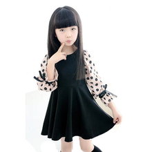 Children Girl Dresses Summer Long-Sleeve Dot Print Design Girls Dress