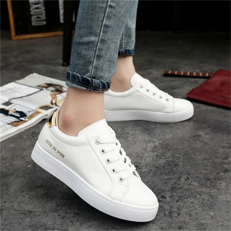 2017 Bottes Femmes Autumn White Shoes Womens flat Breathable White Womens Shoes All-Match Casual shoes<br><br>Aliexpress