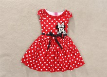 Brand New Baby Girls Cartoon Mouse Pattern Dots Dress High Quality Short Sleeve Cotton Tutu Dresses For Girl Christmas Costume