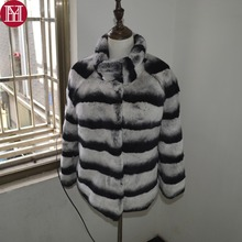 2017 hot sale women genuine real rex rabbit fur coat high quality chinchilla color winter 100% natural rex rabbit fur jacket