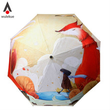 Wulekue Cute Fox Girl Cartoon Illustration Three Folding Umbrella 8 Rib Wind Resistant Frame For Mom