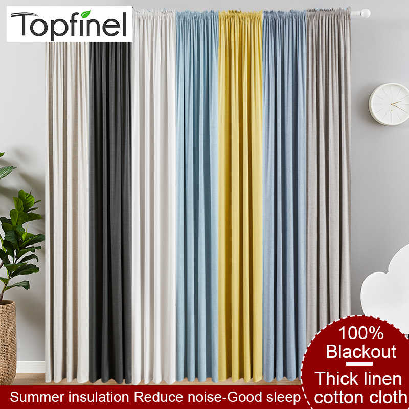 Topfinel Linen 100% Blackout Curtains for Living Room curtains for bedroom Heat insulation Sound insulation Solid Color Drapes