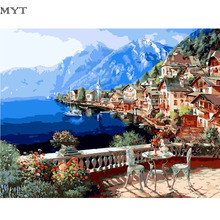 Mediterranean Painting By Numbers Acrylic DIY Train Digital Oil Painting Kits Drawing by Number On Canvas For Home Decor Gift