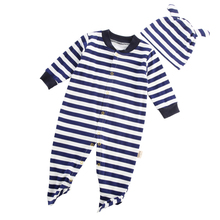 2pcs/set Newborn Boys/Girls Polo Baby Striped Jumpsuit Climbing Clothes Romper+Hat