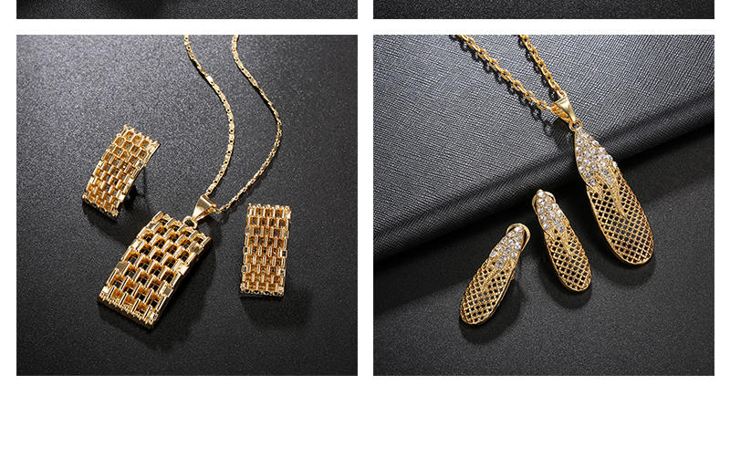 AYAYOO Jewelry Sets Nigerian Wedding African Beads Jewelry Set Square Women Bridal Antique Gold Color Ethiopian Jewelry Set (4)