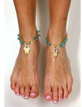 Lucky Hamsa Hand Of Fatima Link Chain Blue Beads Tassels Barefoot Sandals Anklets Beach Foot Jewelry XY-B82(China)