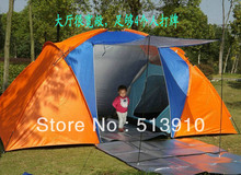 5-6persons luxury 2room 1hall double layer large family outdoor camping tent
