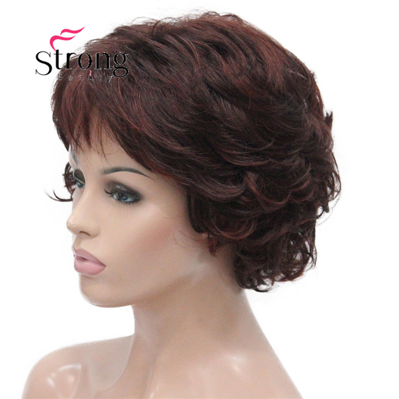 E-7125 #33H350 New Wavy Curly Auburn Mix Red Short Synthetic Hair Full Women's daily Party Wig (4)