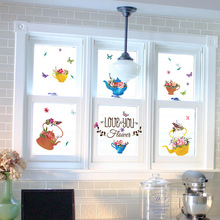 2017 China style wall stickers flower pots wallpaper teapot vinyl stickers home window decals store showcase stickers(China)