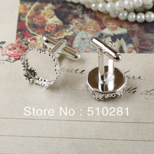 Free ship!!!  15mm imperial crown shape silver stone brass pad cuff links findings