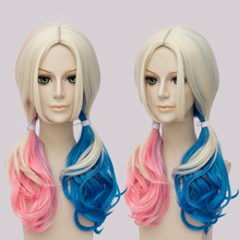 Movie Batman Suicide Squad Harleen Quinzel Harley Quinn Cosplay Wig 45cm Blonde Blue Pink Synthetic Hair Party Wigs