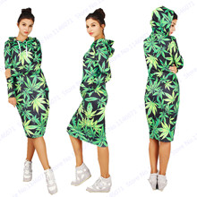 Green Leave Harajuku Hoodie Dress Autumn Winter Hooded Tennis Dresses Loose Relaxed Sweatshirts Women Knee-Length Dress Pullover