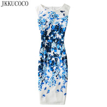 JKKUCOCO 2017 Fashion Women dress Slim package hip Sexy Dress Women Summer Sleeveless dresses Flowers Dresses S-XL 15 Color