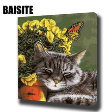BAISITE DIY Framed Oil Painting By Numbers Animal Pictures Canvas Painting For Living Room Wall Art Home Decor 8059(China)