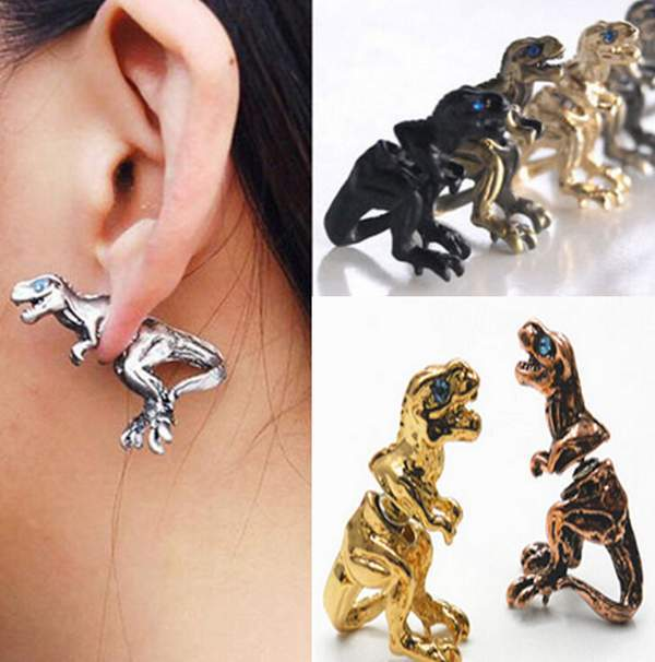 New Vintage Punk 3D Stereoscopic Dinosaur Earring For Men Women Cool Animal Stud Piercing Earrings Free ship(China (Mainland))
