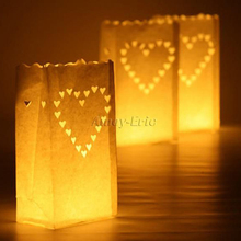 10 pcs Heart Tea light Holder Luminaria Paper Lantern Candle Bag For BBQ Christmas Party Home Outdoor Wedding Decoration