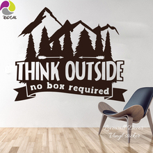 Think Outside No Box Required Quote Wall Decals Sticker Living Room Kids Room Mountain Camper TREE Quote Saying Vinyl Office(China)