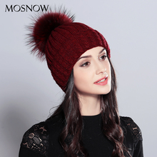 MOSNOW Natural Raccoon Fur Pom Poms Hat Female Elegant Wool Knitted 2017 Winter Brand New Women's Hats Skullies Beanies #MZ701(China)