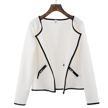 S-4XL Autumn Jacquard Jacket Women Short Coat Long Sleeve Casual Tartan Cardigan White Black Zipper Pocket Slim Fit Outerwear