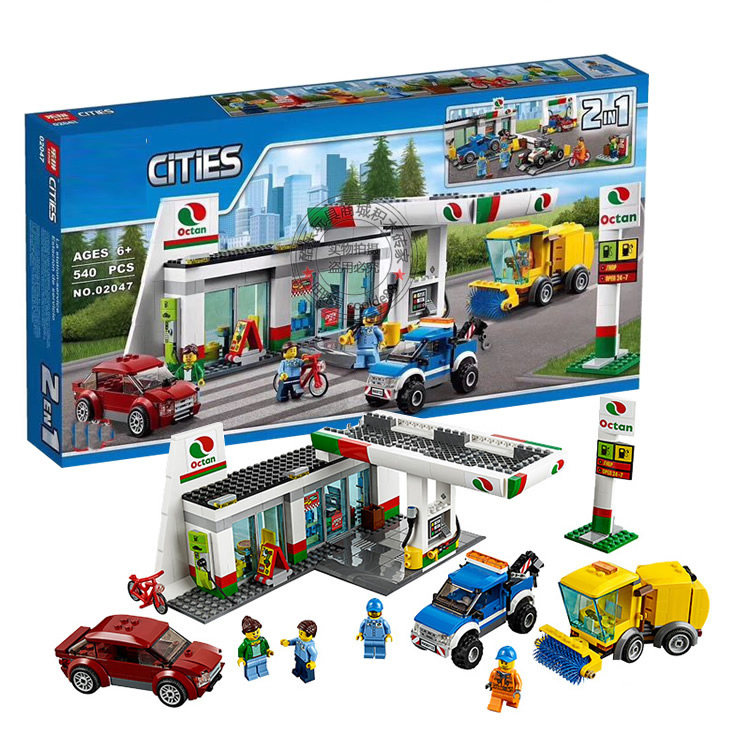 City Town Service Station Building Blocks 02047 DIY Building Brick Police Toys 60132 Boys Gift<br>