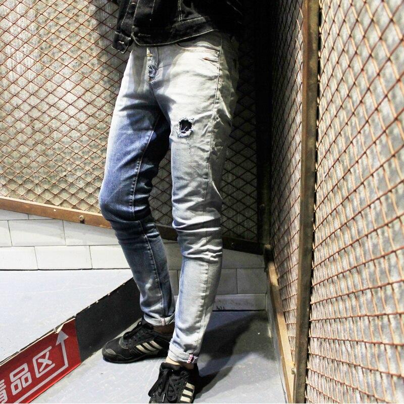 Mens Skinny jeans 2017 slim male zipper Distressed jeans Ripped denim Biker jeans hole rap hip hop pants gradient color jeansОдежда и ак�е��уары<br><br><br>Aliexpress