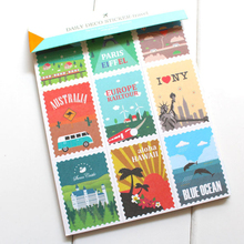 12 sheets /Lot DIY Scrapbook Vintage Travel Stamps Stickers for Diary Notebook Telephone Kawaii Decoration Sticker Stationery