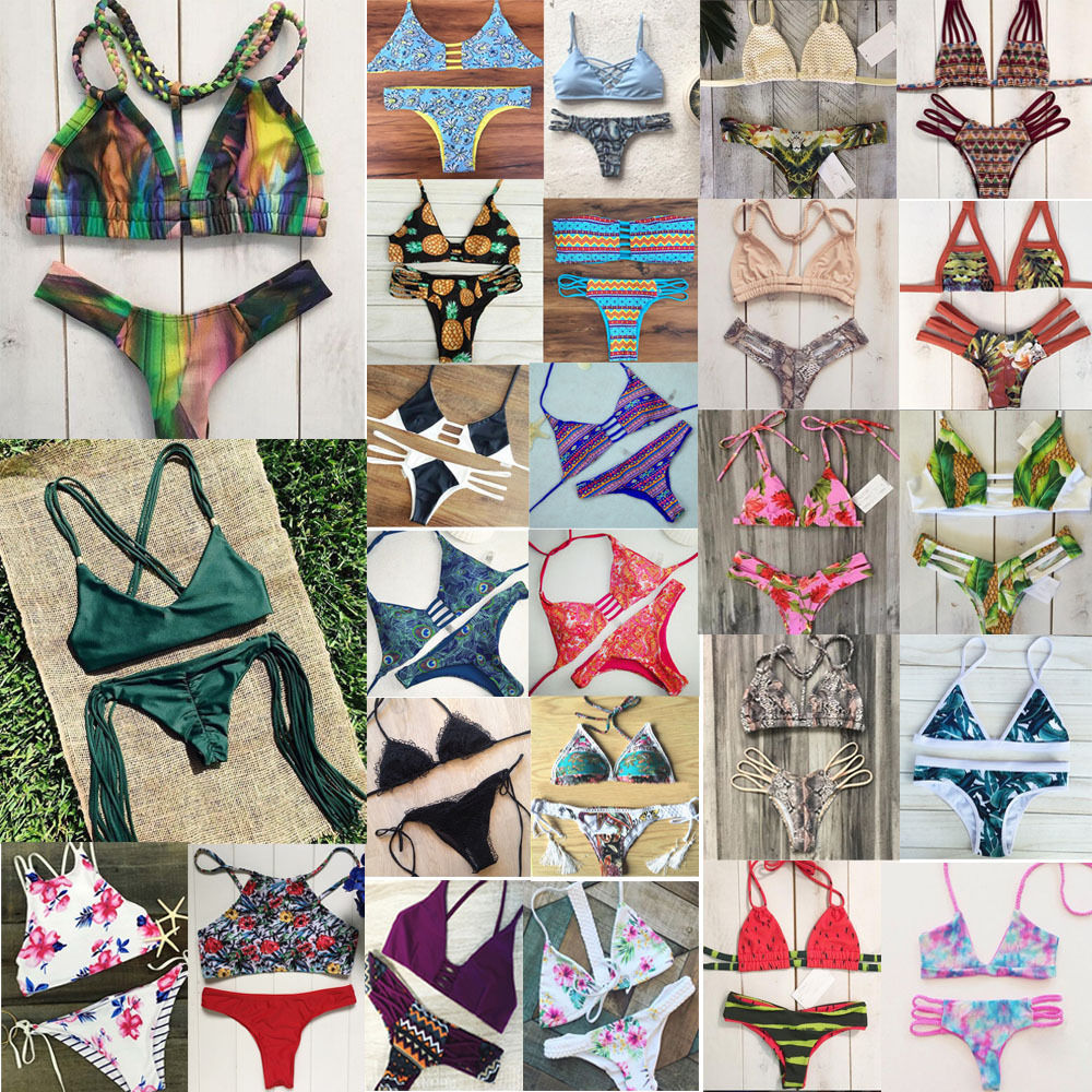2016 New Women Sexy Bikini Set  Padded Bandage Swimsuit Swimwear Bathing Suit Biquni Tankini Brazilian Floral Beachwear<br><br>Aliexpress