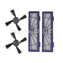 2x Robot Cleanr HEPA Dust Filter and 2x Side Brush Parts Replacement for Neato BotVac 70 70e 75 80 85 series