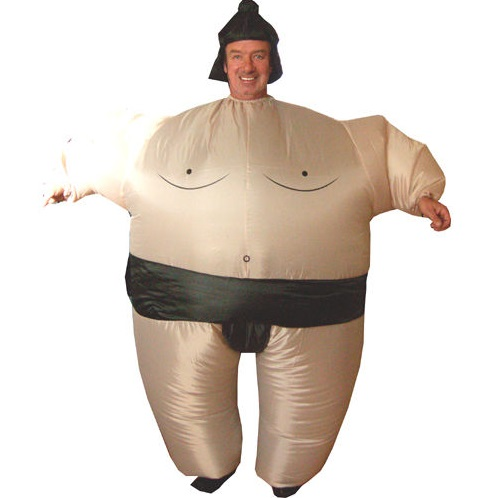 Inflatable Sumo Wrestler Party Fat Suit Fancy Dress Hen Stag Costume With Hat UK(China)