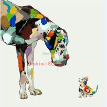 Hand Paint Wall Art Home Decor Animal Dog and Cat Look At Each Other Oil Painting Abstract Handmade Acrylic Hang Canvas Pictures