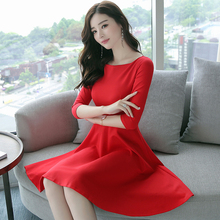 2017 New Autumn Women dress Slash neck Little At Least 20 Dresses Red Black 5890(China)