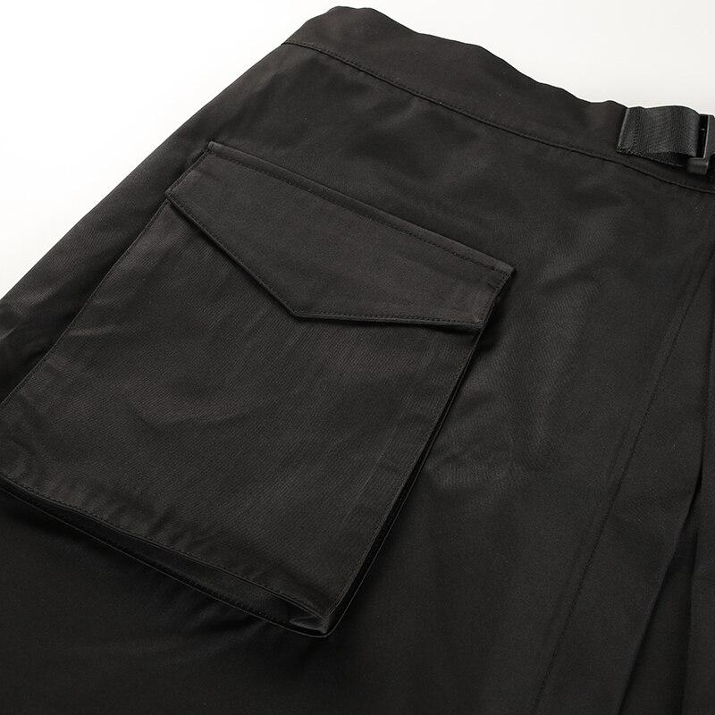 14Sweetown Black Korean Style Women Skirt Womens Vogue Belt High Waist Short Skirts Woman Sexy Cotton Split Side Summer 2018 Skirt