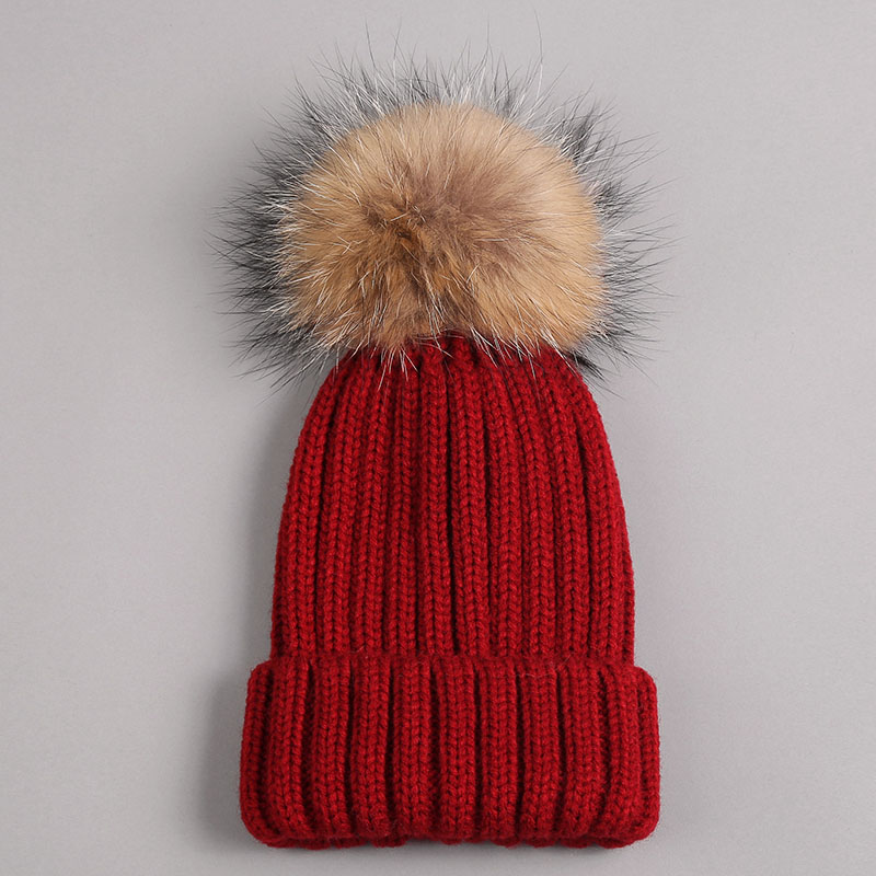 kid hat with fur pompom red 1